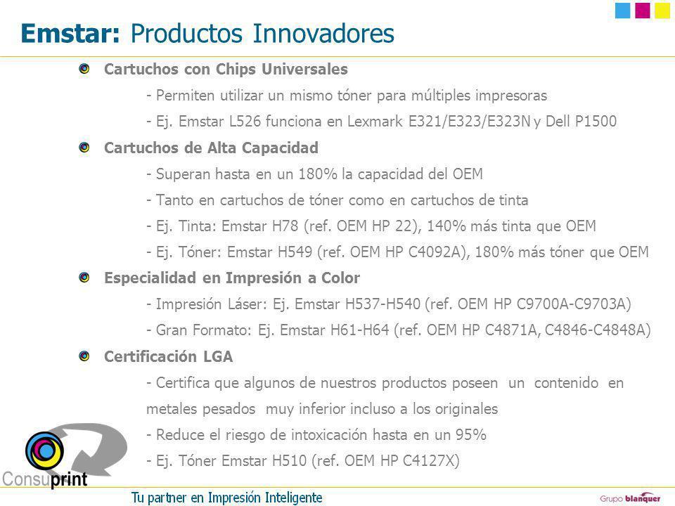 Emstar: Productos Innovadores Cartuchos con Chips Universales - Permiten utilizar un mismo tóner para múltiples impresoras - Ej. Emstar L526 funciona