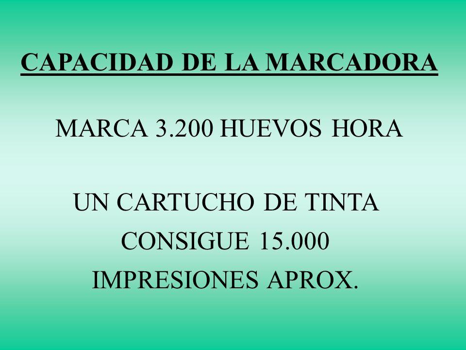 CAPACIDAD DE LA MARCADORA MARCA 3.200 HUEVOS HORA UN CARTUCHO DE TINTA CONSIGUE 15.000 IMPRESIONES APROX.