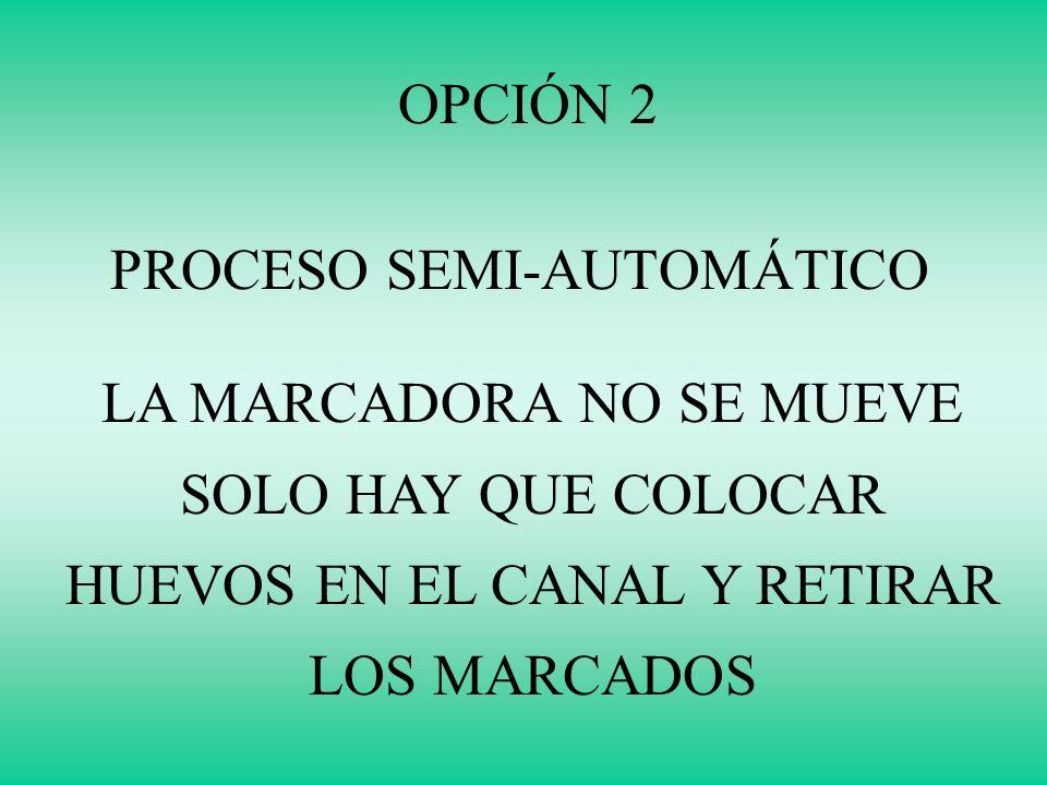 OPCIÓN 2 PROCESO SEMI-AUTOMÁTICO LA MARCADORA NO SE MUEVE SOLO HAY QUE COLOCAR HUEVOS EN EL CANAL Y RETIRAR LOS MARCADOS
