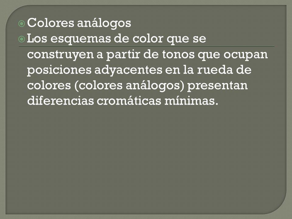 Colores análogos Los esquemas de color que se construyen a partir de tonos que ocupan posiciones adyacentes en la rueda de colores (colores análogos)