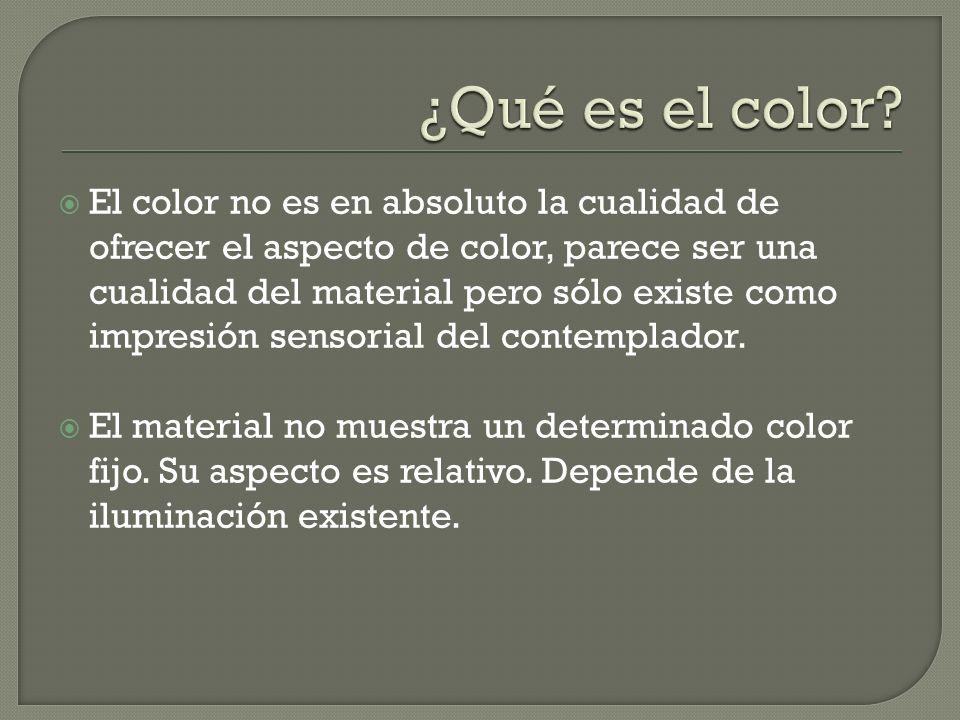 El color no es en absoluto la cualidad de ofrecer el aspecto de color, parece ser una cualidad del material pero sólo existe como impresión sensorial