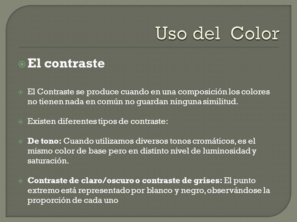 El contraste El Contraste se produce cuando en una composición los colores no tienen nada en común no guardan ninguna similitud. Existen diferentes ti