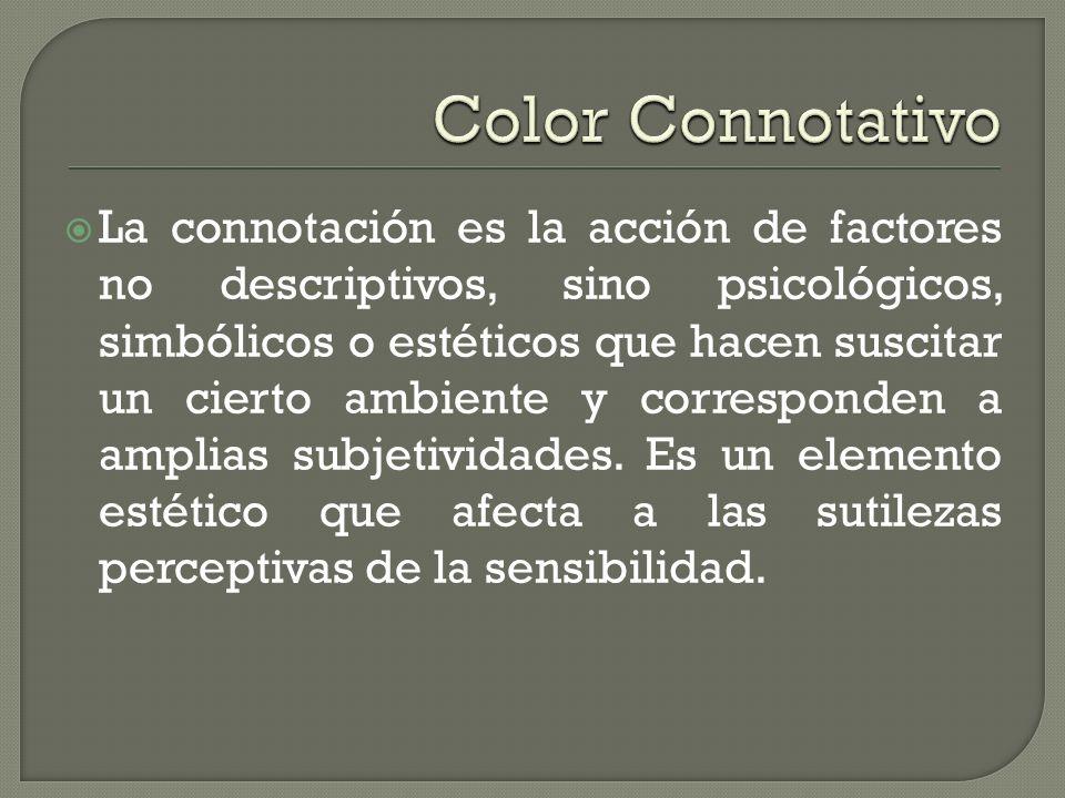 La connotación es la acción de factores no descriptivos, sino psicológicos, simbólicos o estéticos que hacen suscitar un cierto ambiente y corresponde