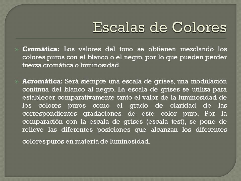 Cromática: Los valores del tono se obtienen mezclando los colores puros con el blanco o el negro, por lo que pueden perder fuerza cromática o luminosi