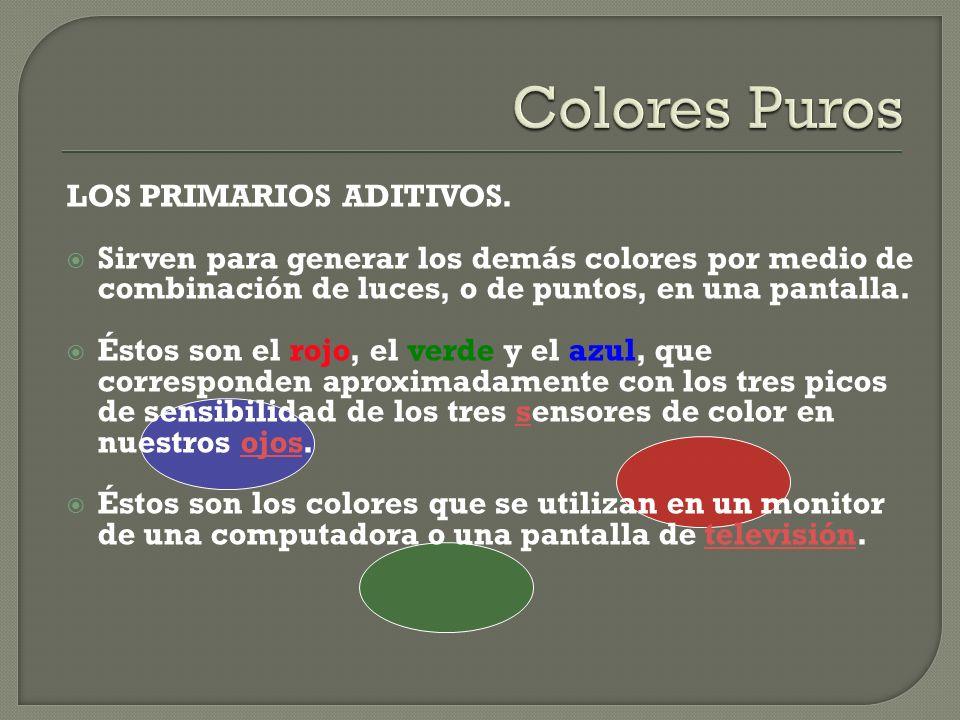 LOS PRIMARIOS ADITIVOS. Sirven para generar los demás colores por medio de combinación de luces, o de puntos, en una pantalla. Éstos son el rojo, el v