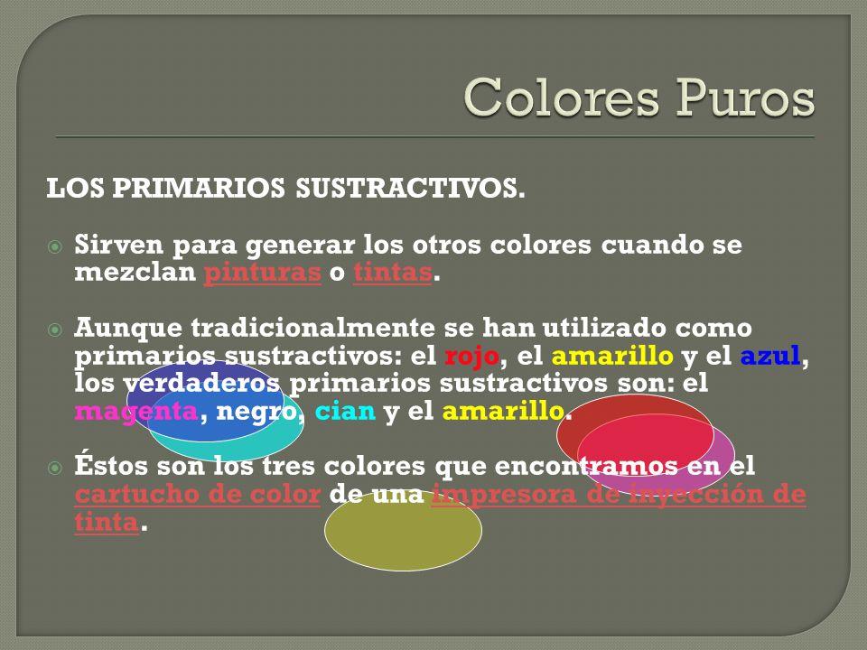 LOS PRIMARIOS SUSTRACTIVOS. Sirven para generar los otros colores cuando se mezclan pinturas o tintas.pinturastintas Aunque tradicionalmente se han ut