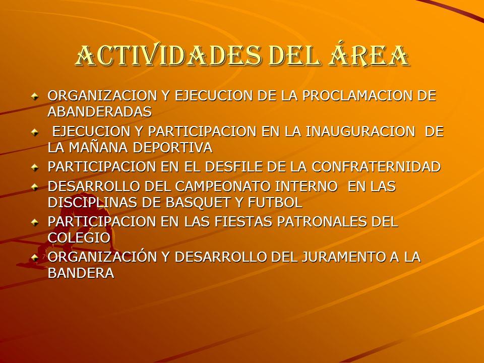 Actividades del área ORGANIZACION Y EJECUCION DE LA PROCLAMACION DE ABANDERADAS EJECUCION Y PARTICIPACION EN LA INAUGURACION DE LA MAÑANA DEPORTIVA EJECUCION Y PARTICIPACION EN LA INAUGURACION DE LA MAÑANA DEPORTIVA PARTICIPACION EN EL DESFILE DE LA CONFRATERNIDAD DESARROLLO DEL CAMPEONATO INTERNO EN LAS DISCIPLINAS DE BASQUET Y FUTBOL PARTICIPACION EN LAS FIESTAS PATRONALES DEL COLEGIO ORGANIZACIÓN Y DESARROLLO DEL JURAMENTO A LA BANDERA