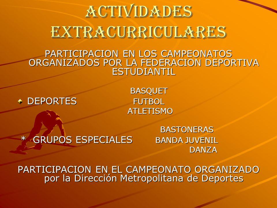 ACTIVIDADES EXTRACURRICULARES PARTICIPACION EN LOS CAMPEONATOS ORGANIZADOS POR LA FEDERACION DEPORTIVA ESTUDIANTIL BASQUET BASQUET DEPORTES FUTBOL ATLETISMO BASTONERAS BASTONERAS * GRUPOS ESPECIALES BANDA JUVENIL * GRUPOS ESPECIALES BANDA JUVENIL DANZA DANZA PARTICIPACION EN EL CAMPEONATO ORGANIZADO por la Dirección Metropolitana de Deportes