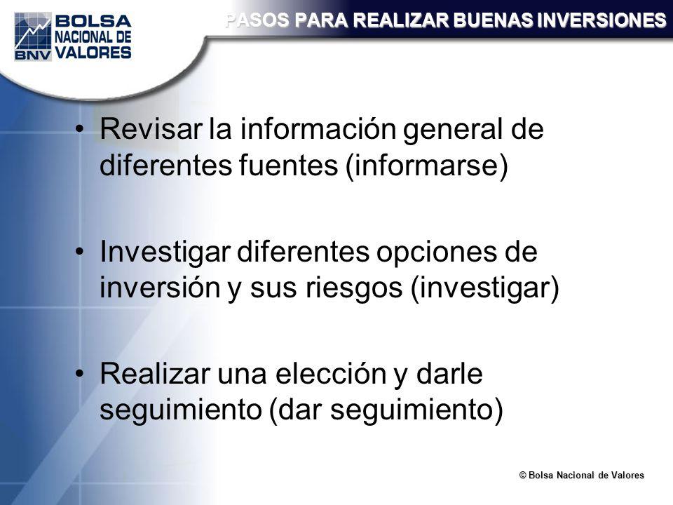 © Bolsa Nacional de Valores PASOS PARA REALIZAR BUENAS INVERSIONES Revisar la información general de diferentes fuentes (informarse) Investigar difere