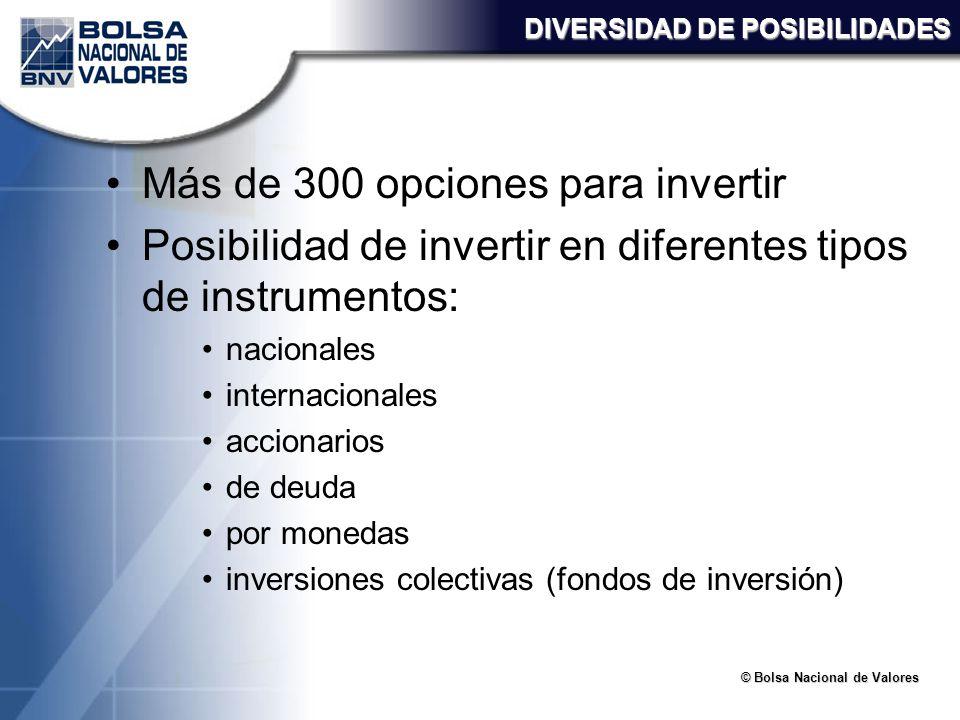 © Bolsa Nacional de Valores DIVERSIDAD DE POSIBILIDADES Más de 300 opciones para invertir Posibilidad de invertir en diferentes tipos de instrumentos: