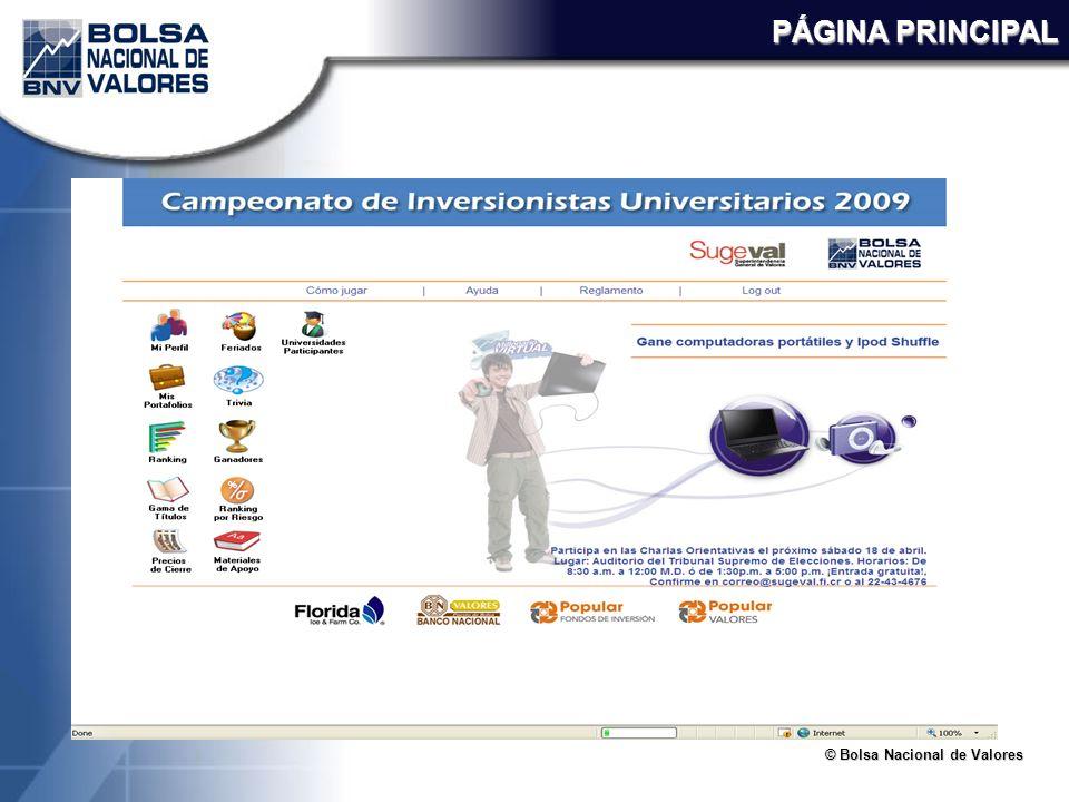 © Bolsa Nacional de Valores PÁGINA PRINCIPAL