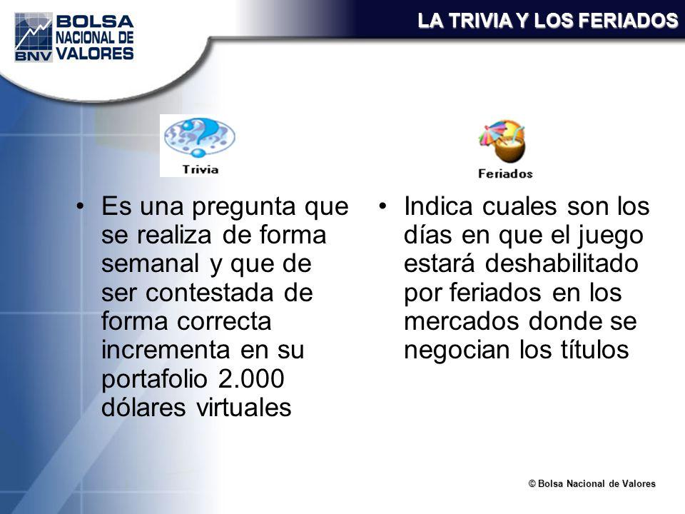 © Bolsa Nacional de Valores LA TRIVIA Y LOS FERIADOS Es una pregunta que se realiza de forma semanal y que de ser contestada de forma correcta increme