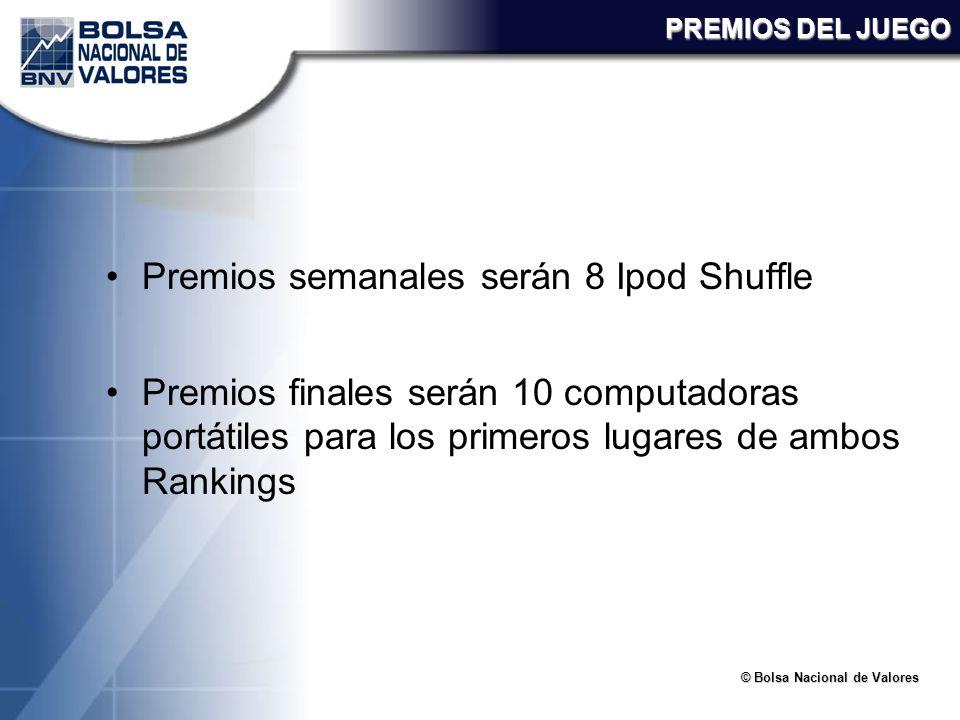 © Bolsa Nacional de Valores PREMIOS DEL JUEGO Premios semanales serán 8 Ipod Shuffle Premios finales serán 10 computadoras portátiles para los primero