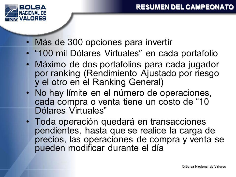 © Bolsa Nacional de Valores RESUMEN DEL CAMPEONATO Más de 300 opciones para invertir 100 mil Dólares Virtuales en cada portafolio Máximo de dos portaf