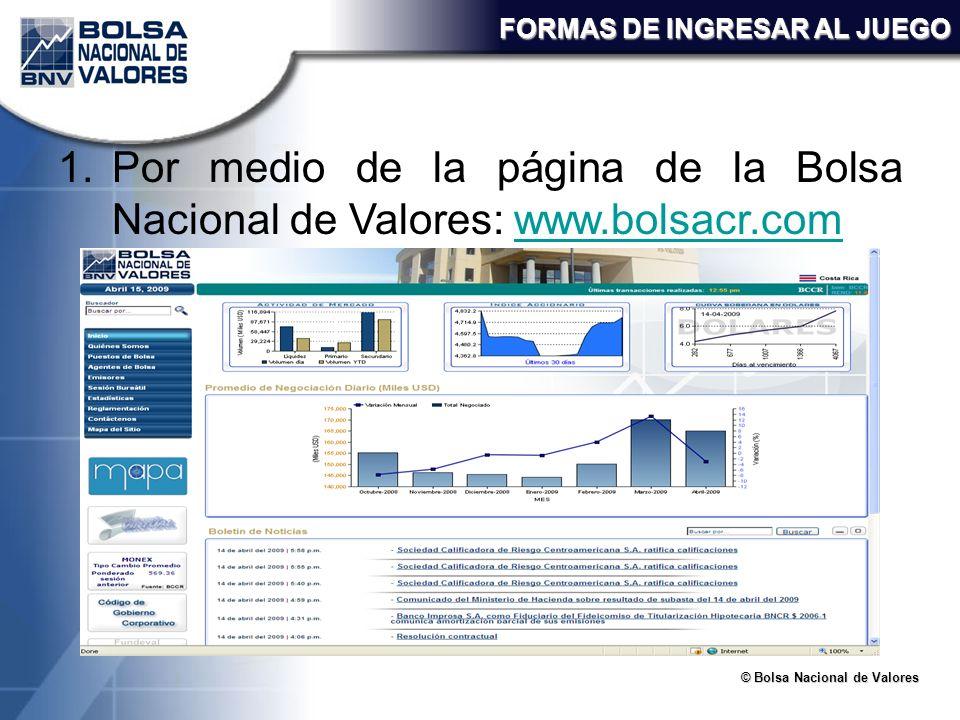 © Bolsa Nacional de Valores FORMAS DE INGRESAR AL JUEGO 1.Por medio de la página de la Bolsa Nacional de Valores: www.bolsacr.comwww.bolsacr.com