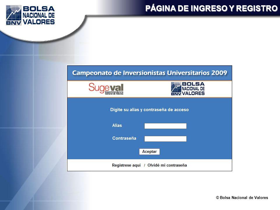 © Bolsa Nacional de Valores PÁGINA DE INGRESO Y REGISTRO