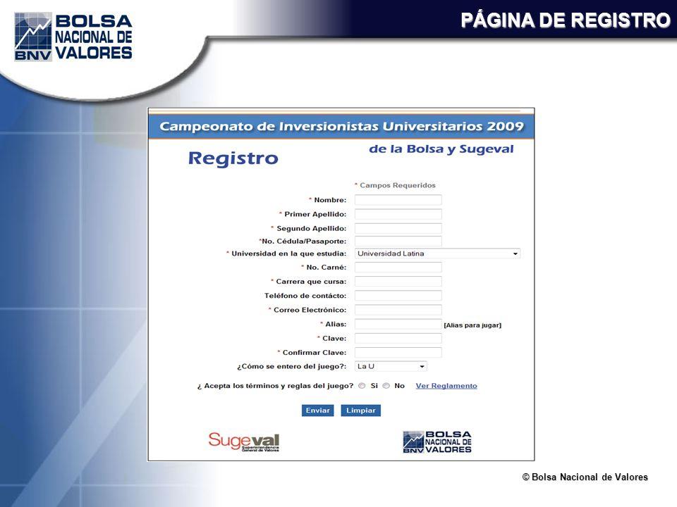 © Bolsa Nacional de Valores PÁGINA DE REGISTRO
