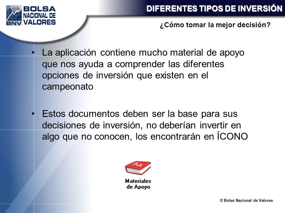 © Bolsa Nacional de Valores DIFERENTES TIPOS DE INVERSIÓN La aplicación contiene mucho material de apoyo que nos ayuda a comprender las diferentes opc