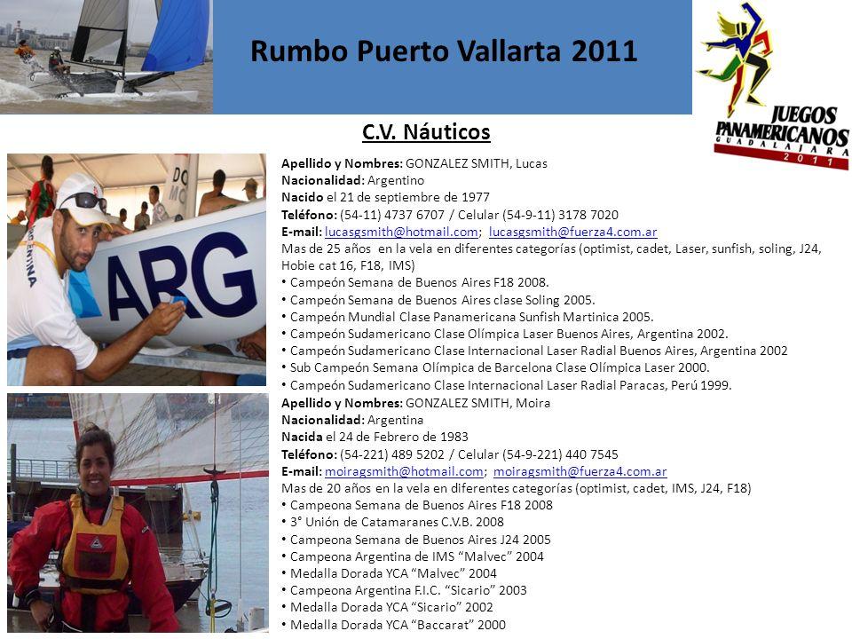 Apellido y Nombres: GONZALEZ SMITH, Lucas Nacionalidad: Argentino Nacido el 21 de septiembre de 1977 Teléfono: (54-11) 4737 6707 / Celular (54-9-11) 3178 7020 E-mail: lucasgsmith@hotmail.com; lucasgsmith@fuerza4.com.arlucasgsmith@hotmail.comlucasgsmith@fuerza4.com.ar Mas de 25 años en la vela en diferentes categorías (optimist, cadet, Laser, sunfish, soling, J24, Hobie cat 16, F18, IMS) Campeón Semana de Buenos Aires F18 2008.