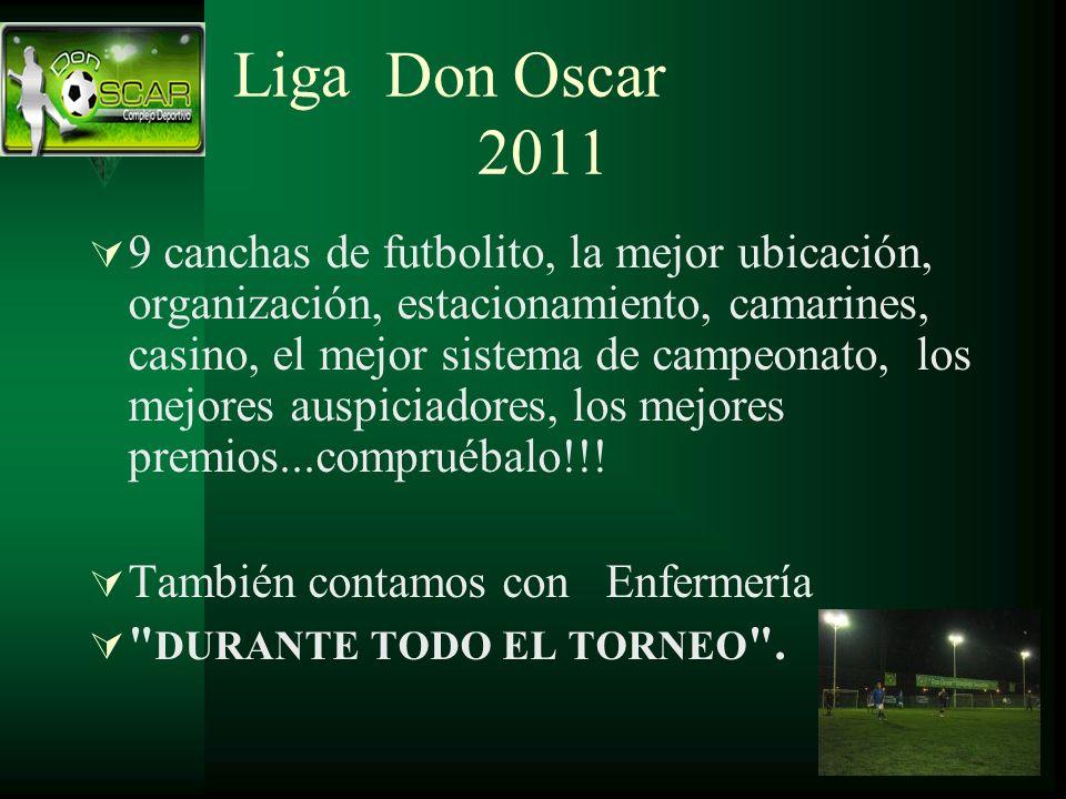 Liga Don Oscar 2011 9 canchas de futbolito, la mejor ubicación, organización, estacionamiento, camarines, casino, el mejor sistema de campeonato, los mejores auspiciadores, los mejores premios...compruébalo!!.