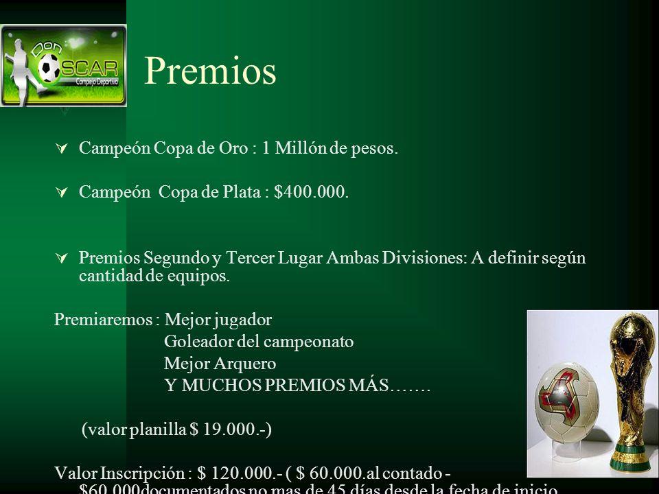 Premios Campeón Copa de Oro : 1 Millón de pesos. Campeón Copa de Plata : $400.000. Premios Segundo y Tercer Lugar Ambas Divisiones: A definir según ca