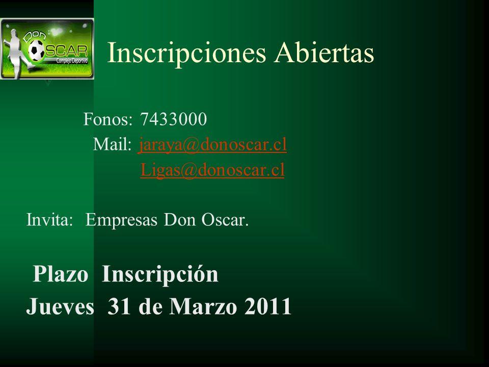 Inscripciones Abiertas Fonos: 7433000 Mail: jaraya@donoscar.cljaraya@donoscar.cl Ligas@donoscar.cl Invita: Empresas Don Oscar. Plazo Inscripción Jueve