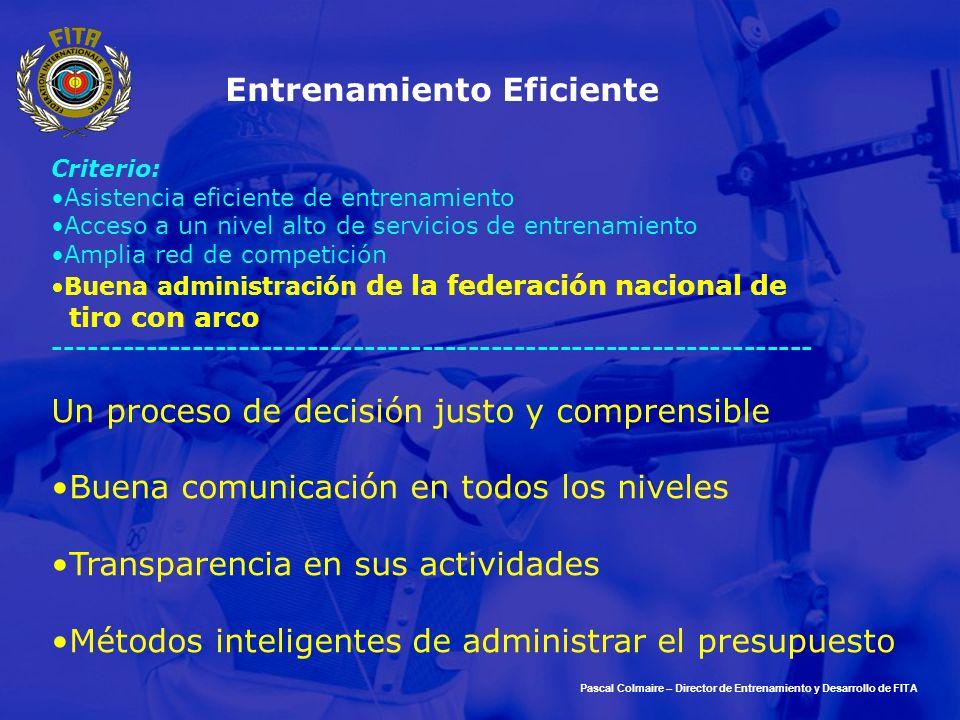 Pascal Colmaire – Director de Entrenamiento y Desarrollo de FITA Entrenamiento Eficiente Criterio: Asistencia eficiente de entrenamiento Acceso a un n