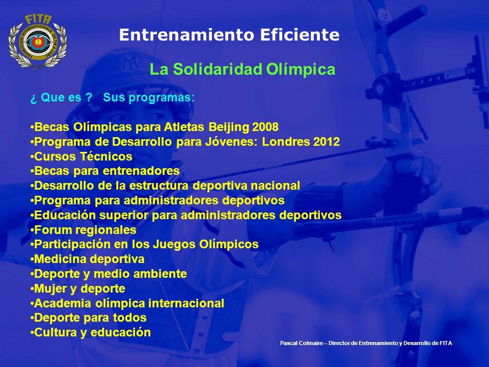 Entrenamiento Eficiente ¿ Que es ? Sus programas: Becas Olímpicas para Atletas Beijing 2008 Programa de Desarrollo para Jóvenes: Londres 2012 Cursos T