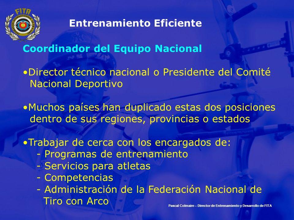 Entrenamiento Eficiente Coordinador del Equipo Nacional Director técnico nacional o Presidente del Comité Nacional Deportivo Muchos países han duplica