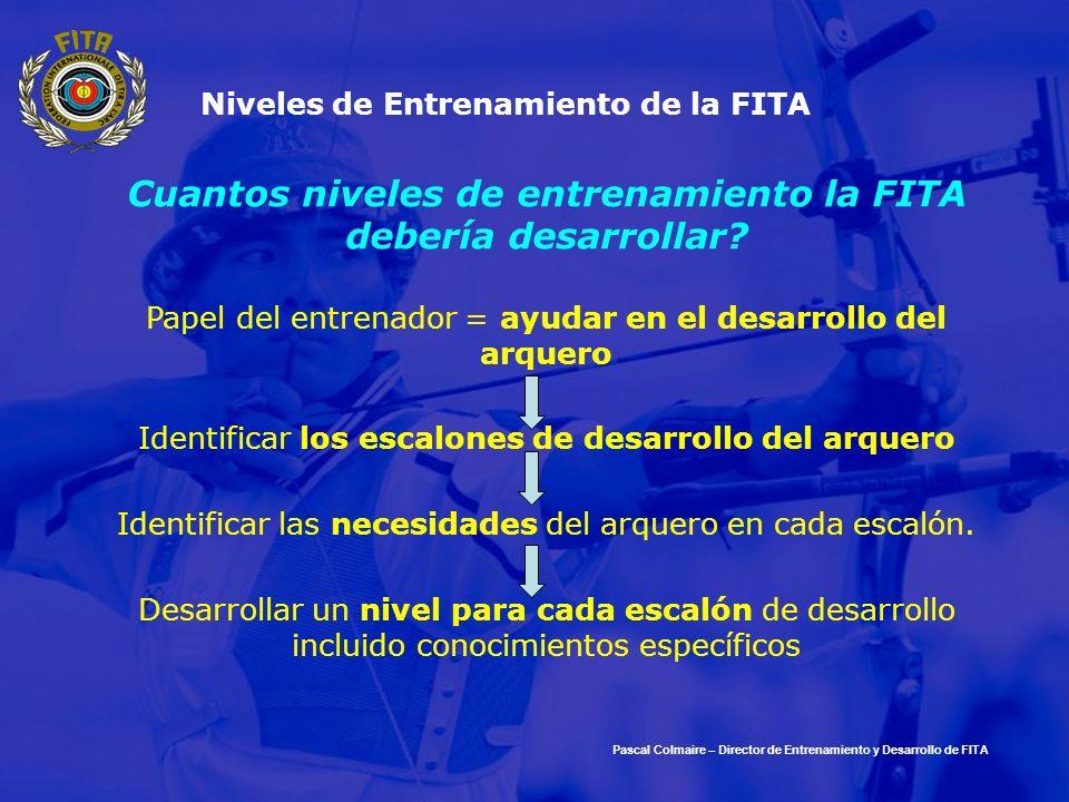 Niveles de Entrenamiento de la FITA Cuantos niveles de entrenamiento la FITA debería desarrollar? Papel del entrenador = ayudar en el desarrollo del a