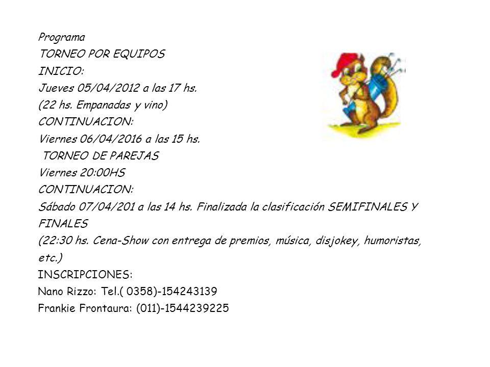 Programa TORNEO POR EQUIPOS INICIO: Jueves 05/04/2012 a las 17 hs.