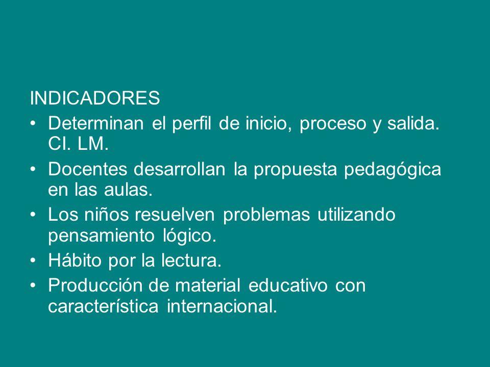 INDICADORES Determinan el perfil de inicio, proceso y salida. CI. LM. Docentes desarrollan la propuesta pedagógica en las aulas. Los niños resuelven p