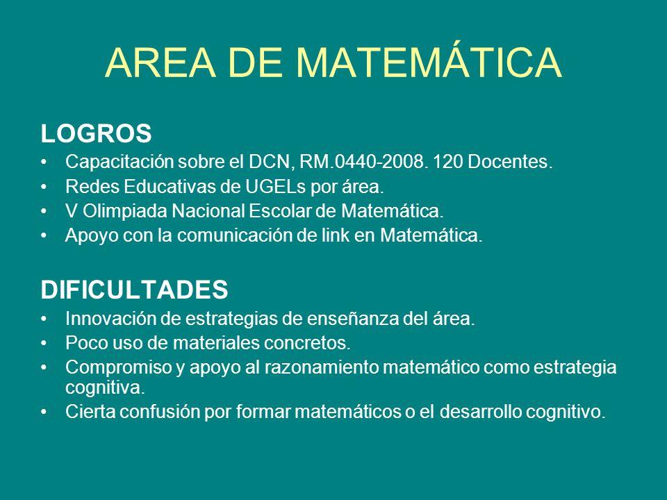 AREA DE MATEMÁTICA LOGROS Capacitación sobre el DCN, RM.0440-2008. 120 Docentes. Redes Educativas de UGELs por área. V Olimpiada Nacional Escolar de M