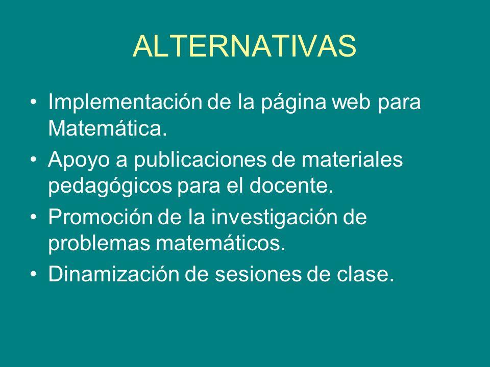 ALTERNATIVAS Implementación de la página web para Matemática. Apoyo a publicaciones de materiales pedagógicos para el docente. Promoción de la investi
