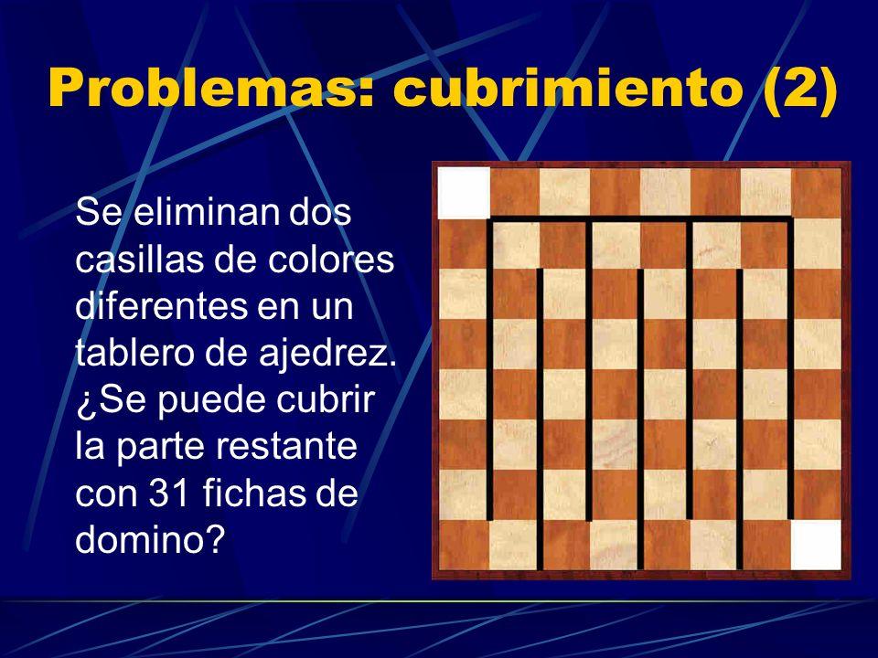 Problemas: cubrimiento (1) ¿Podemos cubrir con fichas de domino un tablero en el cual se han quitado dos esquinas opuestas?
