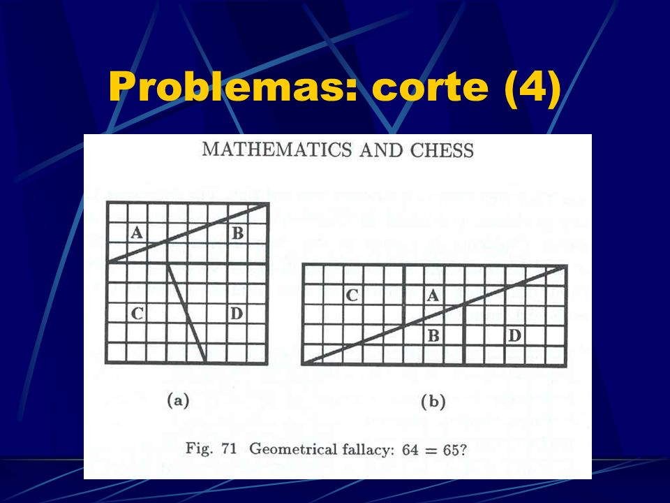Problemas: cubrimiento (3) Cubrir un tablero de ajedrez por 21 tríminos y un monómino
