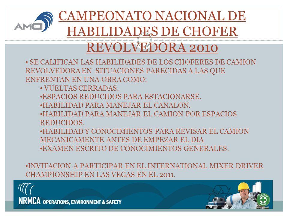 CAMPEONATO NACIONAL DE HABILIDADES DE CHOFER REVOLVEDORA 2010 SE CALIFICAN LAS HABILIDADES DE LOS CHOFERES DE CAMION REVOLVEDORA EN SITUACIONES PARECIDAS A LAS QUE ENFRENTAN EN UNA OBRA COMO: VUELTAS CERRADAS.