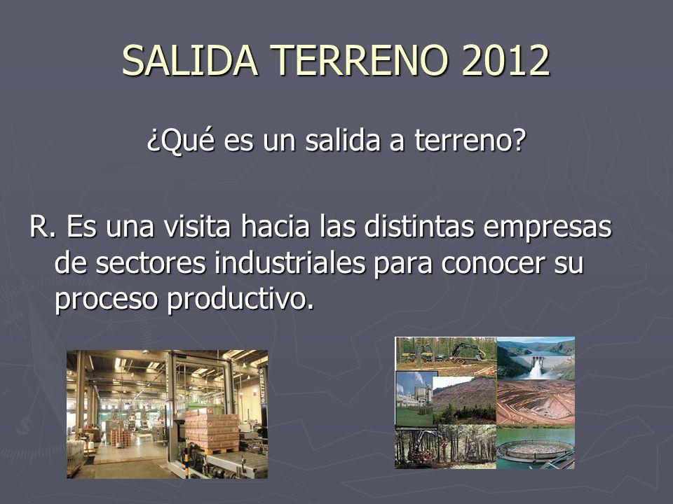 SALIDA A TERRENO 2012 ¿Qué industrias conoceremos.
