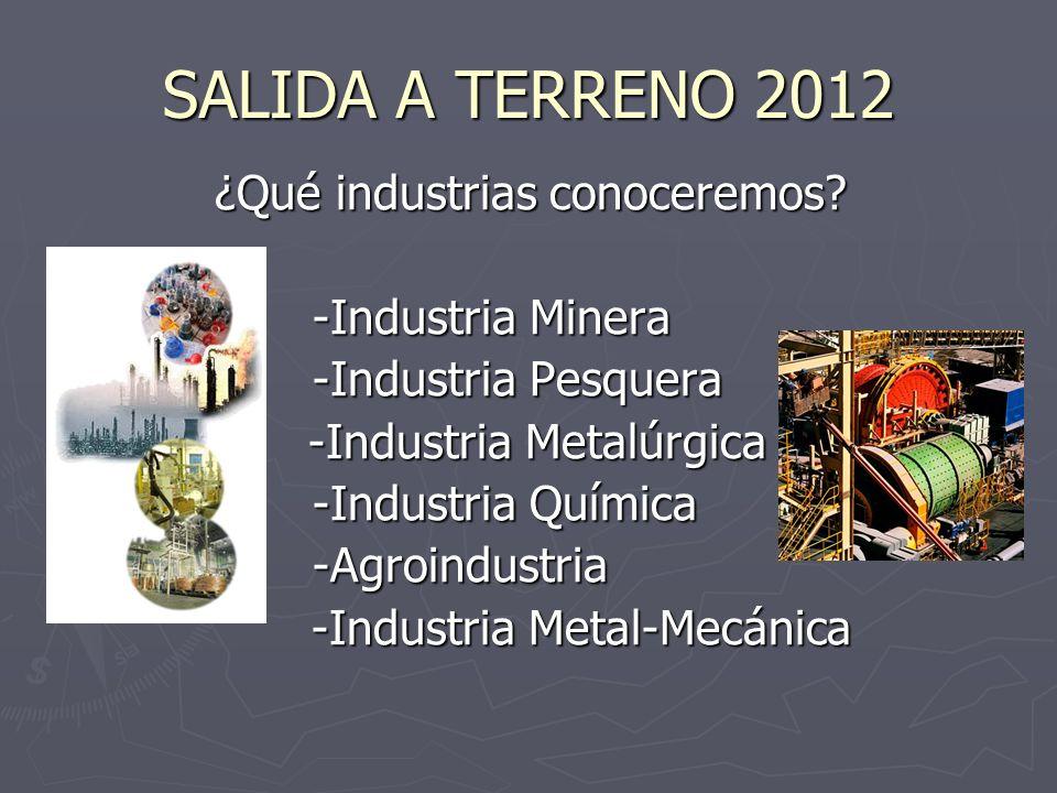 SALIDA A TERRENO 2012 ¿Dónde realizaremos las visitas? R. En Antofagasta, II Región