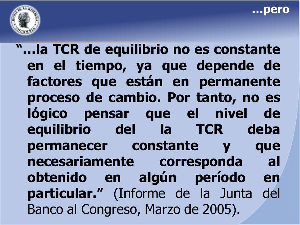 …pero …la TCR de equilibrio no es constante en el tiempo, ya que depende de factores que están en permanente proceso de cambio. Por tanto, no es lógic