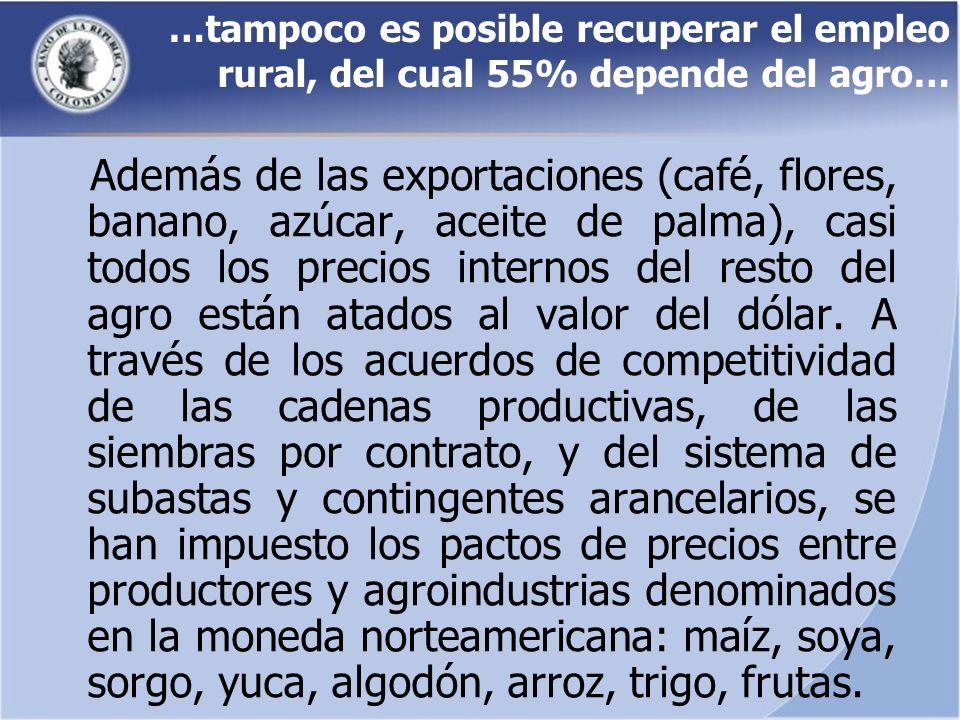 …tampoco es posible recuperar el empleo rural, del cual 55% depende del agro… Además de las exportaciones (café, flores, banano, azúcar, aceite de pal