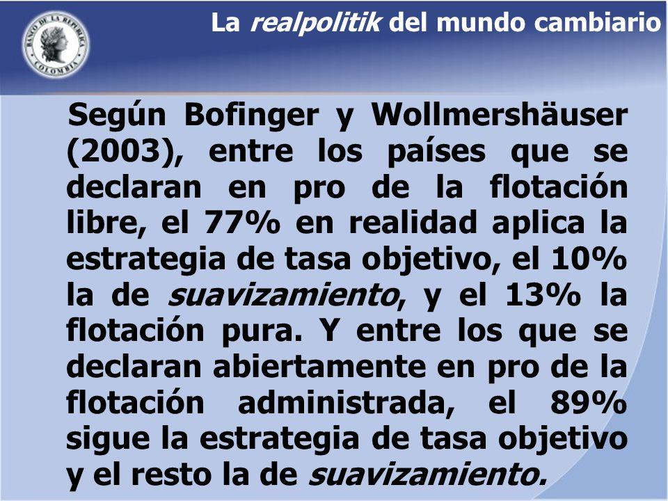 La realpolitik del mundo cambiario Según Bofinger y Wollmershäuser (2003), entre los países que se declaran en pro de la flotación libre, el 77% en re