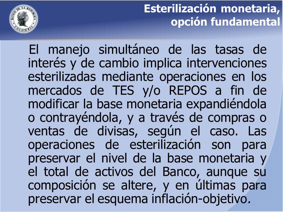 Esterilización monetaria, opción fundamental El manejo simultáneo de las tasas de interés y de cambio implica intervenciones esterilizadas mediante op