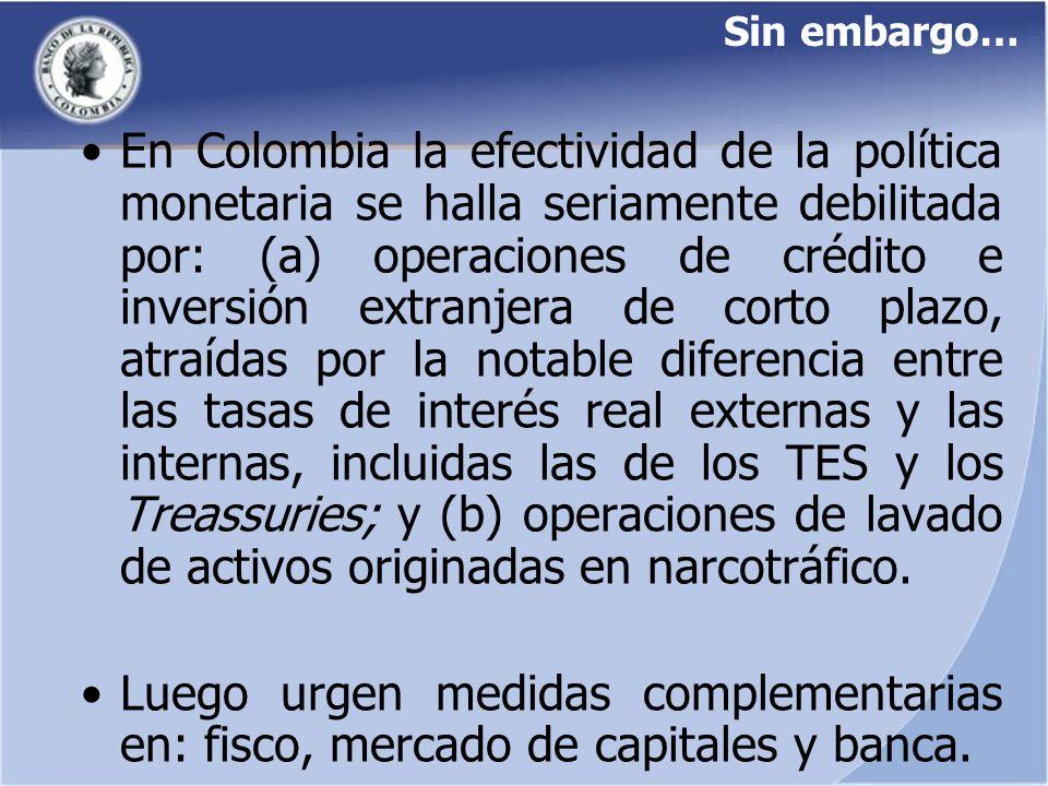 Sin embargo… En Colombia la efectividad de la política monetaria se halla seriamente debilitada por: (a) operaciones de crédito e inversión extranjera
