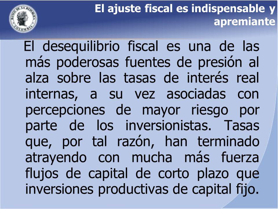 El ajuste fiscal es indispensable y apremiante El desequilibrio fiscal es una de las más poderosas fuentes de presión al alza sobre las tasas de inter