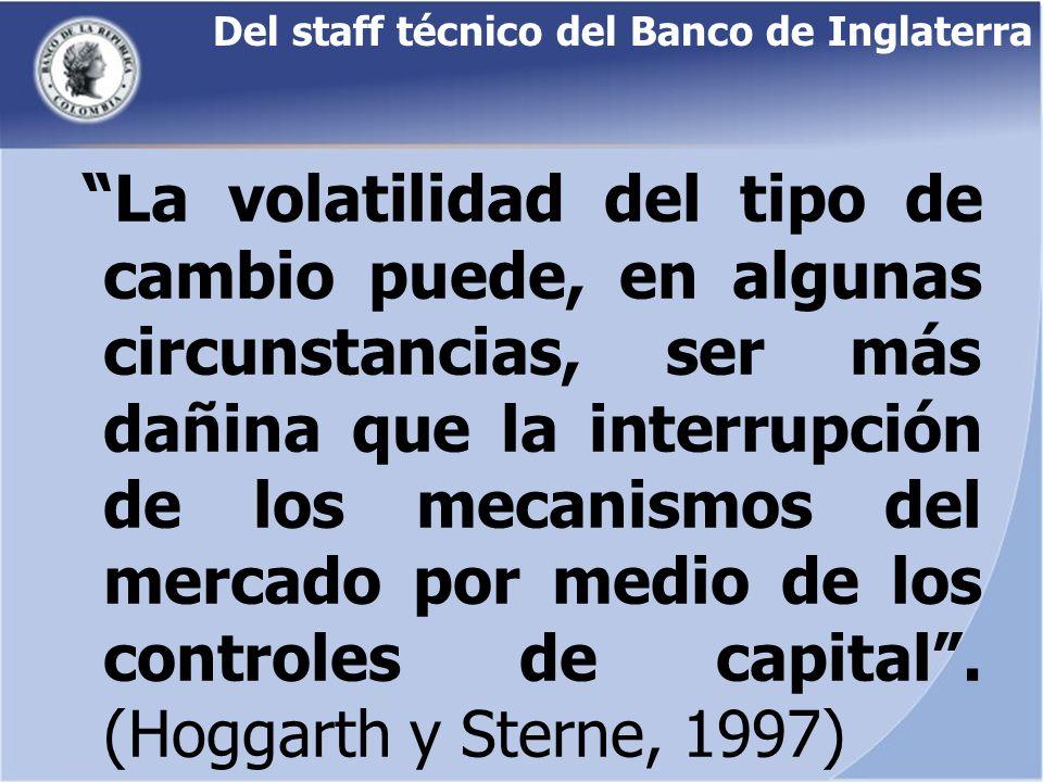 Del staff técnico del Banco de Inglaterra La volatilidad del tipo de cambio puede, en algunas circunstancias, ser más dañina que la interrupción de lo