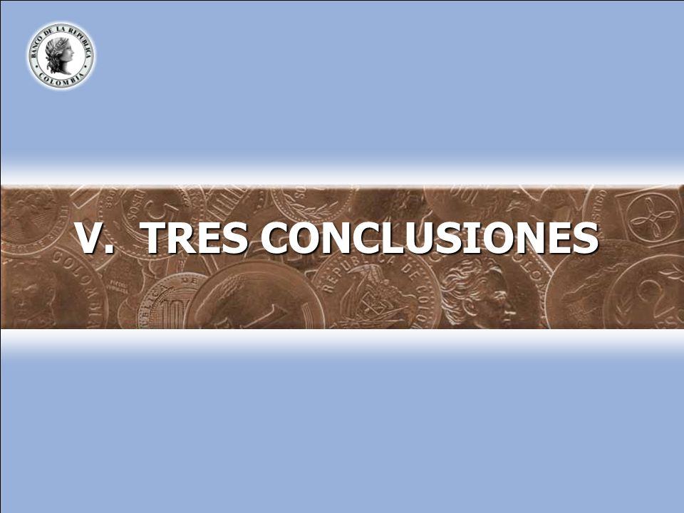V. TRES CONCLUSIONES