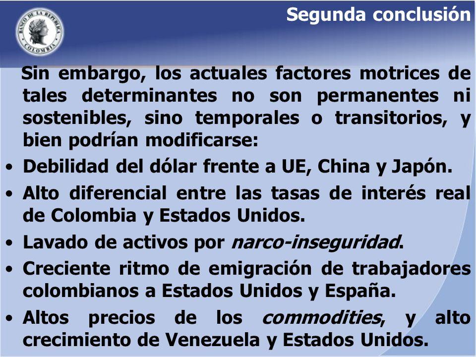 Segunda conclusión Sin embargo, los actuales factores motrices de tales determinantes no son permanentes ni sostenibles, sino temporales o transitorio
