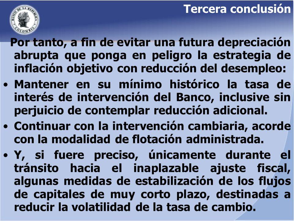 Tercera conclusión Por tanto, a fin de evitar una futura depreciación abrupta que ponga en peligro la estrategia de inflación objetivo con reducción d