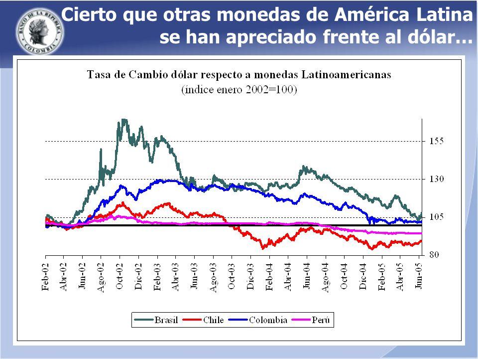 Cierto que otras monedas de América Latina se han apreciado frente al dólar…